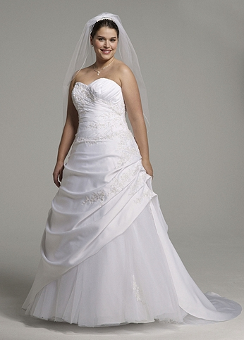 Satin and tulle Assymetrical Pick-up Gown AI13011190