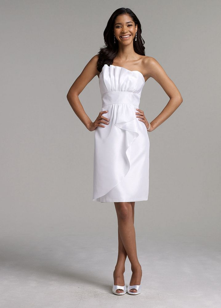 David 39 s bridal short shantung wedding dress ebay for Wedding dress david bridal