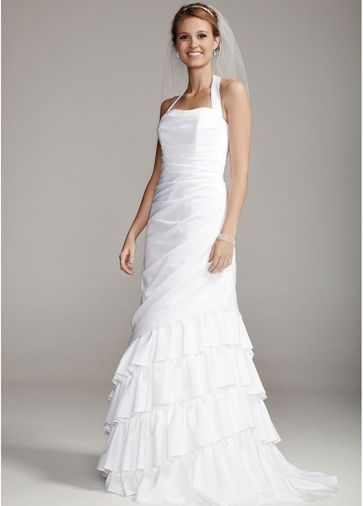 David 39 s bridal satin side drape wedding dress with tiered for Side draped wedding dress