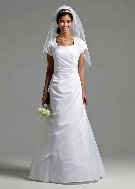 Short Sleeve Satin A-line Wedding Dress   David\'s Bridal