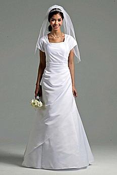 Short Sleeve Satin A-line Wedding Dress SLT9724