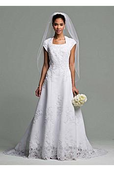 Short Sleeve Satin Wedding Dress Beaded Lace AI10042149