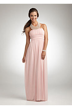 Pearl Jeweled Necklace Halter Mesh Gown 8420Y039