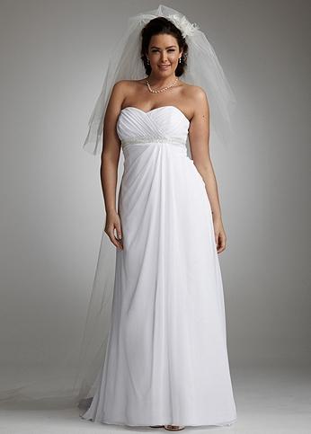 Chiffon Plus Size Wedding Dress with Side Drape 9WG3078
