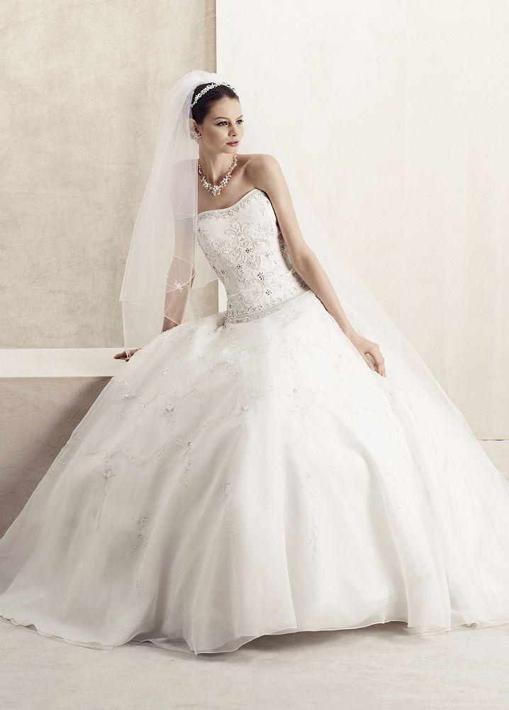 Oleg cassini wedding dress petite satin bodice with for Davids bridal cheap wedding dresses