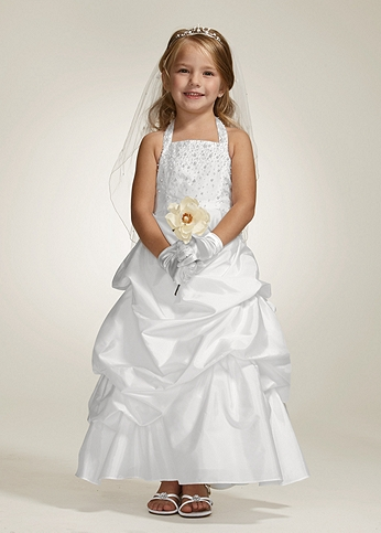 Taffeta Halter Ball Gown with Pick Up Skirt H1250