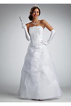 Beaded Satin Wedding Dress with Organza Skirt NTV9263
