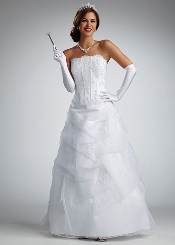 No Train Satin Pick Up Gown with Beaded Lace NTV9263