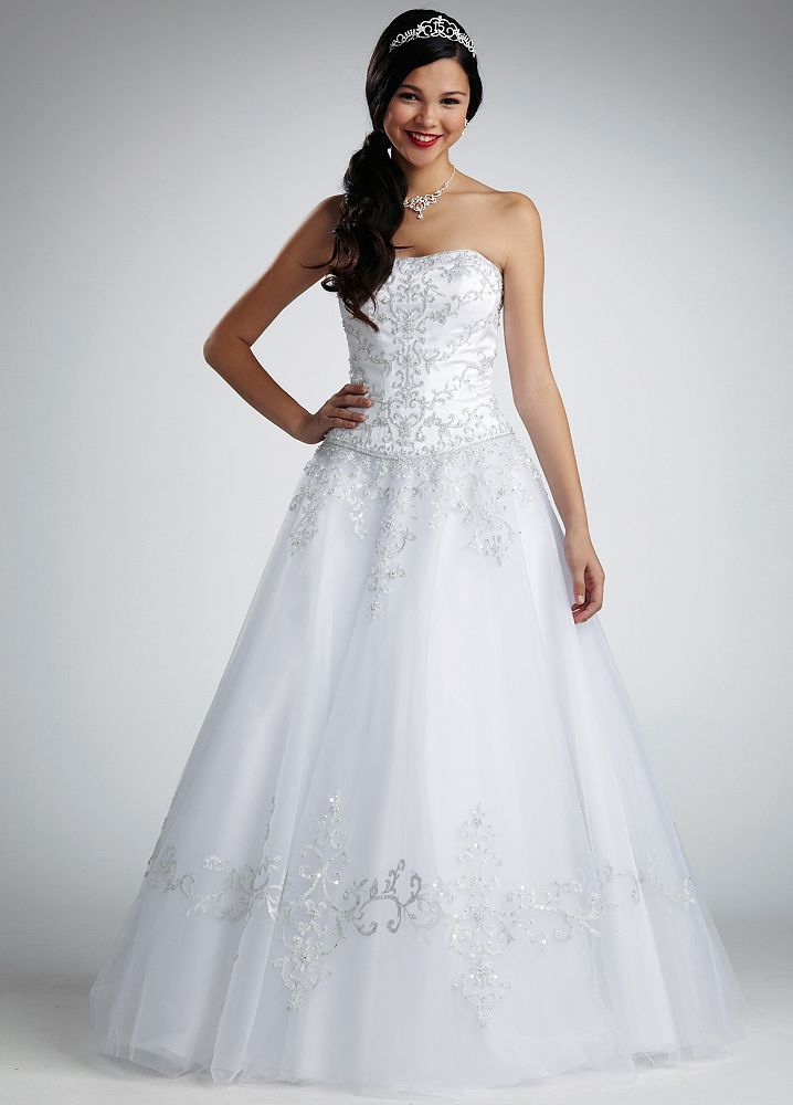 David 39 s bridal satin and tulle wedding dress with bodice for David bridal wedding dresses