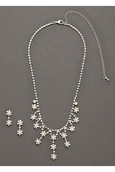 Crystal Flower Drop Necklace and Earring Set S-3070