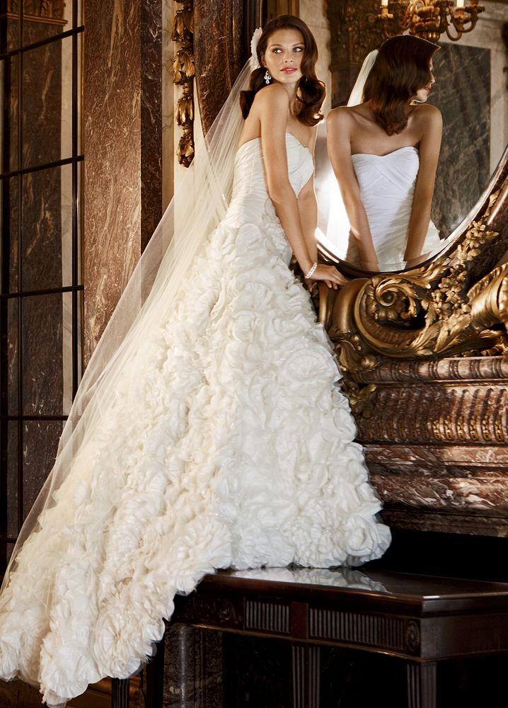David 39 s bridal taffeta ball gown wedding dress with floral for Davids bridal wedding dresses