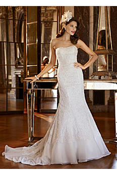 Petite Lace Over Charmeuse Gown with Soutache AI19010144