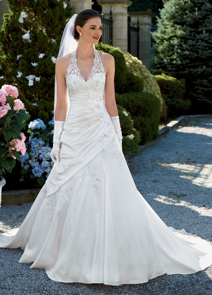 David 39 s bridal sample wedding dress taffeta lace halter a for David s bridal lace wedding dress