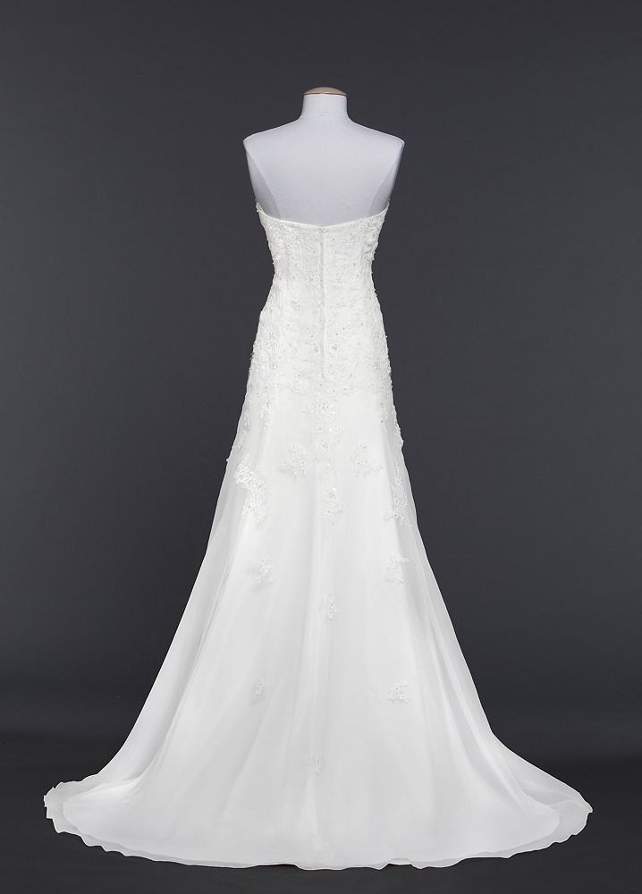 David 39 s bridal sample organza trumpet wedding dress with for Need to sell my wedding dress