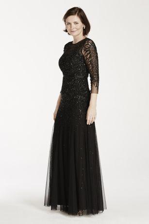 34 Illusion Sleeve Beaded Floor Length Dress Davids Bridal