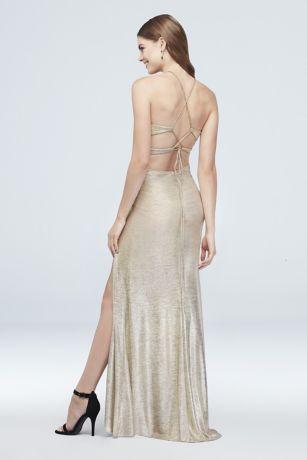 d64019fcffc High-Neck Metallic Sheath Dress with Strappy Back. 1034BN. Long Sheath  Wedding Dress - Blondie Nites. Long Sheath Wedding Dress - Blondie Nites.  Save