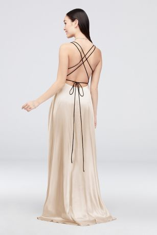 a179167a141 Charmeuse Gown with Crossed Spaghetti Straps