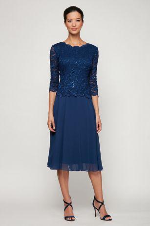943de0edc72 V-Back Scoopneck A-Line Dress with 3 4 Sleeves