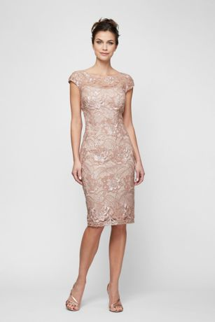 d30f040ef63 Knee-Length Sequin Lace Sheath with Cap Sleeves