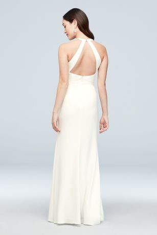 e97fea0ad23a Metallic-Embroidered Open Back Jersey Sheath Dress   David's Bridal