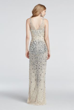 628c80d4 Crystal Bead Encrusted Illusion V-Neck Prom Dress | David's Bridal