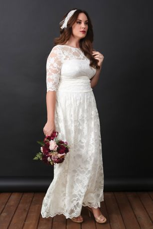 47fb5e110a8 Lace Illusion Plus Size Wedding Gown. 14130904. Long Sheath Boho Wedding  Dress - Kiyonna. Long Sheath Boho Wedding Dress - Kiyonna. Save
