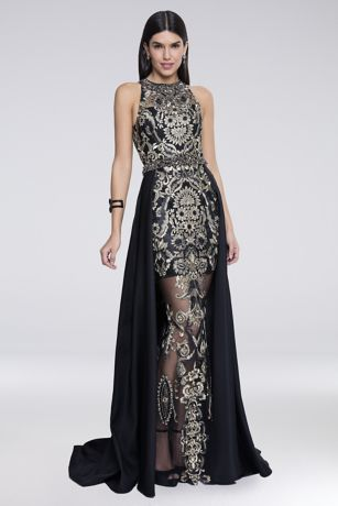 Embroidered Illusion Sheath Gown With Overskirt David S Bridal