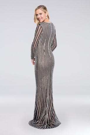 2e9587b47e4 Linear Beaded Long Sleeve Sheath Dress
