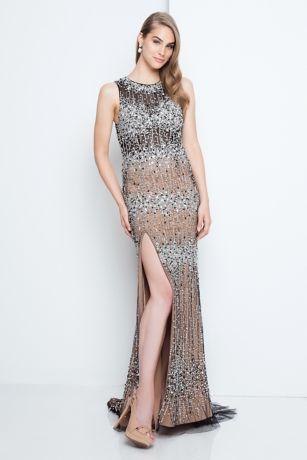 Long Beaded Sleeveless Sheath Dress With Slit Davids Bridal