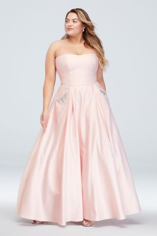 a7993c3b32be0 Satin Plus Size Ball Gown with Crystal Pockets | David's Bridal