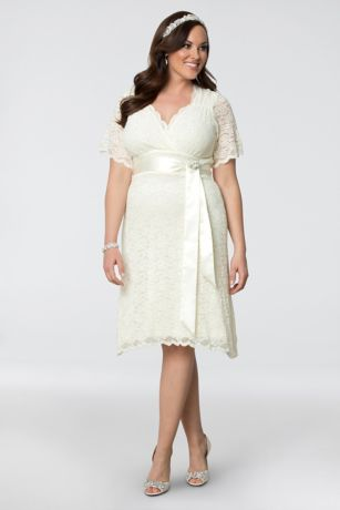 Lace Confections Plus Size Short Wedding Dress | David\'s Bridal