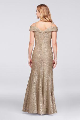 1f9508286c Cold-Shoulder Glitter Lace Mermaid Dress