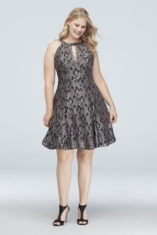 18b33870af6d4 Contrast Lace Halter Fit-and-Flare Plus Size Dress