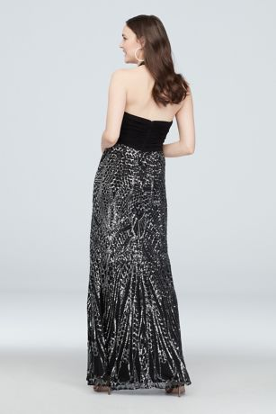d01bb12763 Stretch Halter A-Line Gown with Sequin Skirt