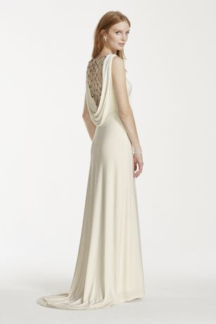 Jersey Sheath Gown with Pearl and Chain Open Back | David\'s Bridal