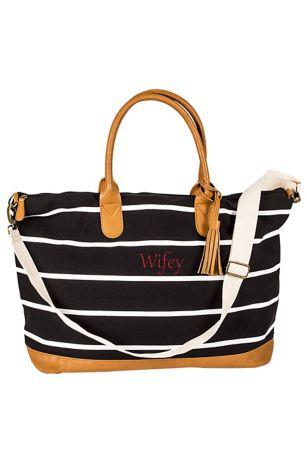 fa08ba947da34 Personalized Striped Canvas Weekender Bag | David's Bridal