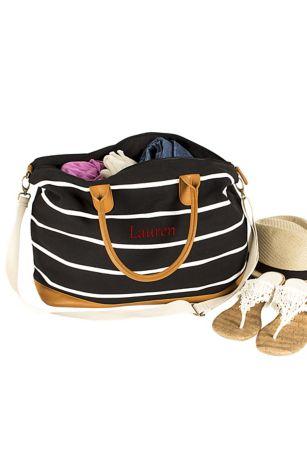 95c211117ee68 Personalized Striped Canvas Weekender Bag