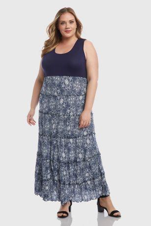 Topanga Tiered Crinkled Tank Plus Size Maxi Dress | David\'s ...