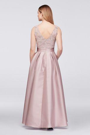 eda40fd8 Sequin Lace Dress with Mikado Skirt | David's Bridal