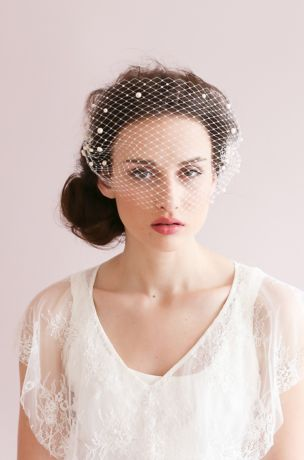"""Gold glittering birdcage bandeau veil 9/"""" with diamante pearl hair pins"""