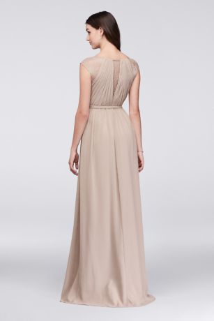 3b2774e8fcefa Chiffon Bridesmaid Dress with Metallic Lace Inset | David's Bridal