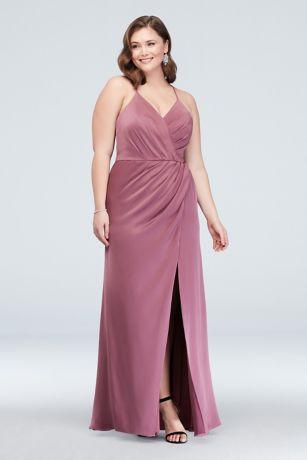 Crepe-Back Satin Spaghetti Strap Bridesmaid Dress | David\'s Bridal