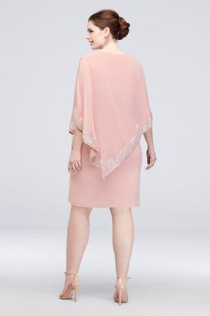 1fc79cf8d563 Metallic Hem Asymmetric Cape One Shoulder Dress | David's Bridal