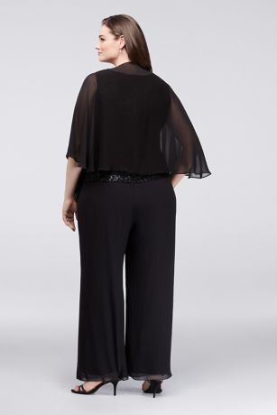 bf7bc3a541c Sequin Lace and Chiffon Plus Size Pant Suit
