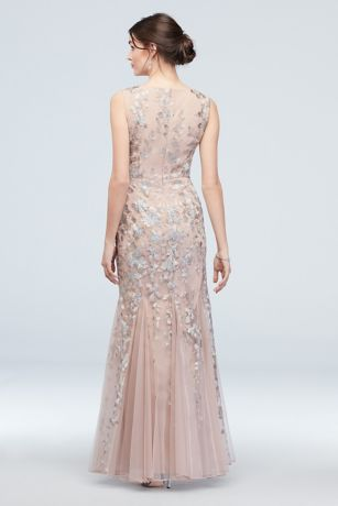 8b588d65768 Embroidered Sequin Flower V-Neck Tulle Gown