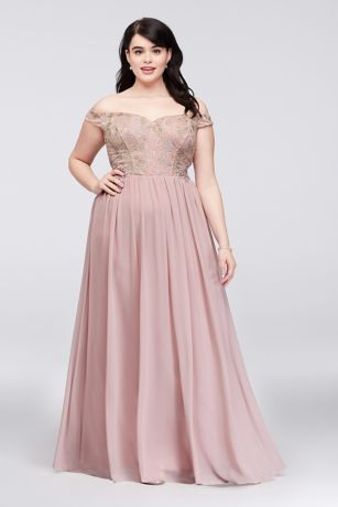 Off-the-Shoulder Lace Corset Plus Size Gown