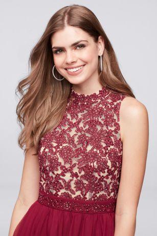 e9425f6b4b5 Embroidered Lace Mock-Neck Homecoming Dress