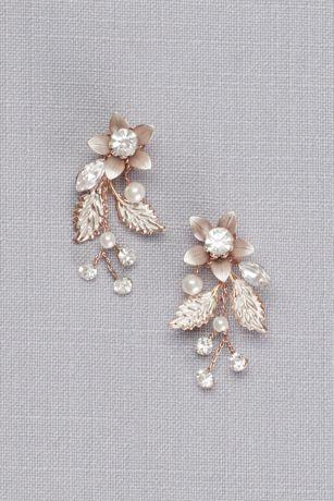 Jeweled Brushed Metal Flower Earrings David S Bridal