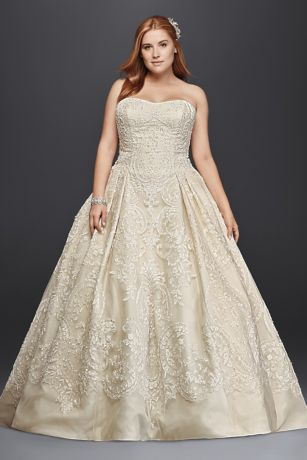 839582c9b0f Oleg Cassini Plus Size Lace Tulle Wedding Dress