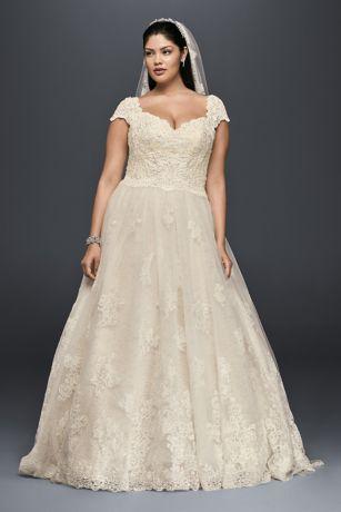 3d6e7e687351 Cap Sleeve Lace Plus Size Ball Gown Wedding Dress | David's Bridal